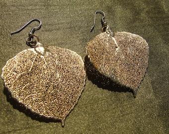 Elven Leaves of Valinor Earrings- Gold Aspen Leaf Earrings, size large
