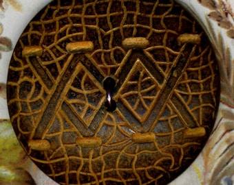 Vintage Button, Wood with XXX Design