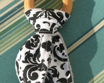 Teething Ring-Black & White Damask Gray Minky-Natural Maple Hardwood rings-Great Baby Gift