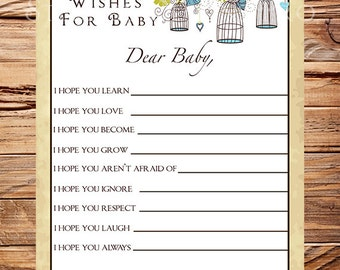 Birdcages Well Wishes Card, INSTANT DOWNLOAD, Baby Wishes Card, Baby Shower Advice Card, Branches, Birdcages Baby Wishes Card, Blue -A17