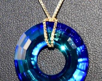 Bermuda Blue Swarovski Disk Gold Necklace