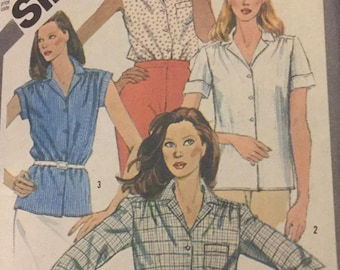 Simplicity 6358, Vintage, Shirt, Sleevless, Extended Shoulder Cap Sleeves, Short Sleeves, Long Sleeves, Out of Print, Sewing Pattern, 1980s