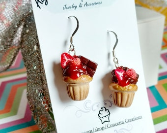 Chocolate Frosted Berry Topped Cupcake Earrings