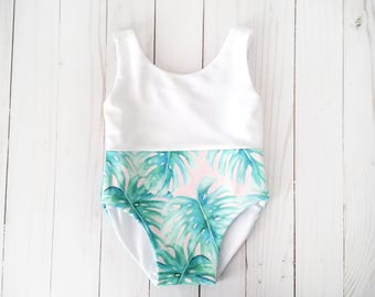 Palm Print Baby Girl Swimsuit | Pink Palm Baby Bathing Suit | Palm Tree Swimsuit | Monstera Baby Swimwear | Size 6 Months | Palm Leaf Suit