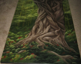 """24x36"""" Original Oil Painting - Huge Giant Gnarly Braided Tree Wall Art"""
