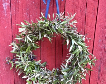 "Spring Wreath with Fresh Olive Branches- 14"" with Custom Hanging Bow"