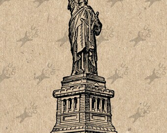 Vintage American New York USA Statue of Liberty image Instant Download Digital printable clipart graphic burlap fabric transfer HQ300dpi