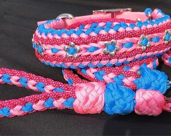 Adjustable dog collar with coordinating leash