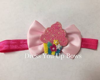 Birthday cupcake pink hot pink satin bow glitter stretch elastic headband Baby toddler teen adult FOE foldover head band birthdy party