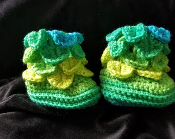 Blue and Green Crocheted Dragon