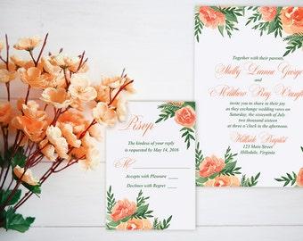 "Watercolor Wedding Invitation Card - Floral Wedding Invitation RSVP Card ""Lavish Garden"" Orange Peach Wedding Invitation Watercolour Wedding"