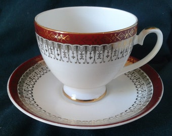 Vintage Royal Grafton Majestic Pattern Hand Finished Fine Bone China Teacup & Saucer