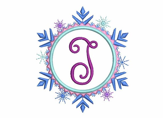 Snowflake Font Frame Embroidery Design Monogram Machine