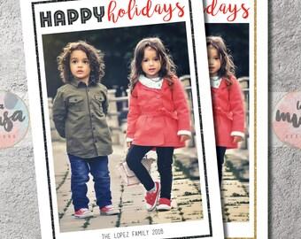 HAPPY HOLIDAYS CARD {Holiday} {Christmas} {Family} {Photo} {Printable}