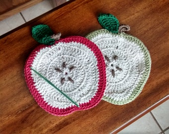 Country Apple Crocheted Hot Pad Set of Two, Country Kitchen Decor, Handmade Kitchen Accessories, Hand-crocheted Apple Decorations