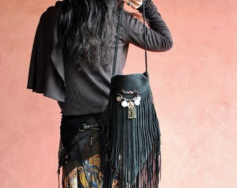 Leather Fringe Bag with Afghan Coin . Nomad World .Bohemian , gypsy,Hippie,boho,trib,bellydance