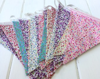 Floral bunting, Long bunting, Birthday party, Vintage Bunting, Floral Bunting, shabby chic, Mother's Day gift, Mother's Day decor, 5m long
