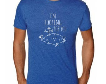 I'm Rooting For You Men's Tee, Men's Graphic T-Shirt, Shirts with Sayings, Royal Blue