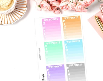 Weight Watchers Points Tracker (MATTE) - Set of 6 Stickers | Fit Erin Condren, Sew Much Crafting Inserts, Plum Paper and more!