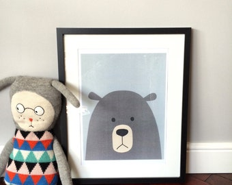 Herbert Bear, Nursery/ Childs Room Art Print, Limited Edition. A3 Size