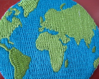 SALE~ Self-adhesive/ Iron-on Embroidered Patch Earth 1.9 inch