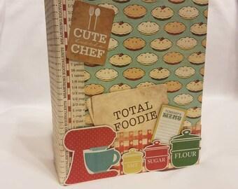 Recipe book, recipe album, recipe mini album, mini recipe book, mini scrapbook album, mini album, cook book, premade recipe book