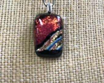 Red and Silver Dichroic Fused Glass Pendant