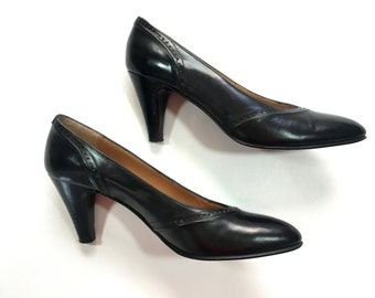 50s Black Pumps | Leather Dress Shoes | High Heel Shoes, 8 38
