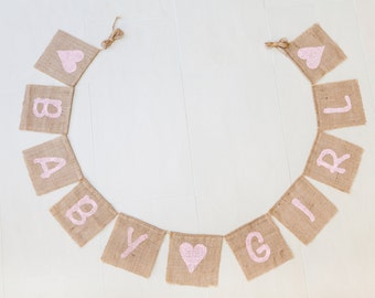 BABY GIRL Bunting - Baby Shower Decoration Vintage Handmade Burlap / Hessian Bunting Shabby Chic Rustic Banner