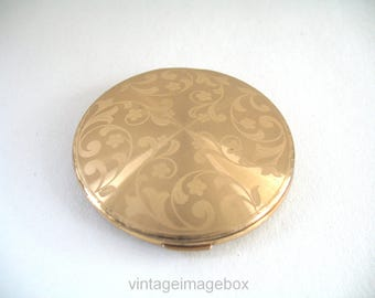 Vintage Powder Compact, Goldtone Metal, Floral Pattern Top, 1950s Makeup Accessory, with Pouch