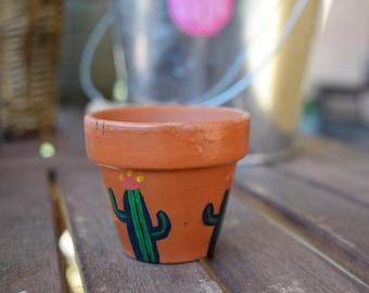 Mini Cactus Clay Pot