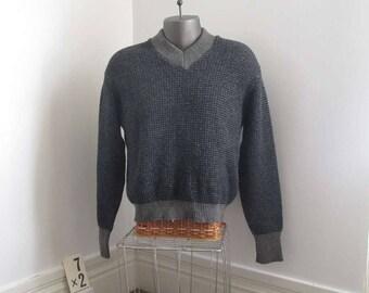 Vintage 50s Janzten Sweater navy tweed Sweater 50s gray wool pullover navy wool sweater gray wool sweater 50s Janzten V neck pullover M
