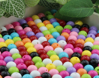 140 pcs 10mm Rainbow Round Beads - Assorted Colors Small Beads Resin Jewelry Making Craft Supplies
