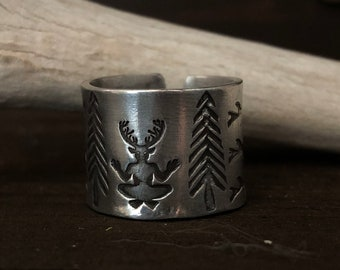 Horned God Ring - Cernunnos Jewelry - Pagan Jewelry - Viking - Shaman - Tribal - Deity With Tree branches and Pine Trees Cuff Ring