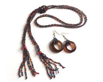 Gypsy Rainbow: Multicolored glass. Necklace and earring set.