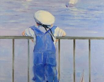 Little sailor, Baby boy, Painting,  Child, Children, Gift, Artwork, Fine art , Wall Decor, home decor, oil, Сanvas art, Landscape, Ocean