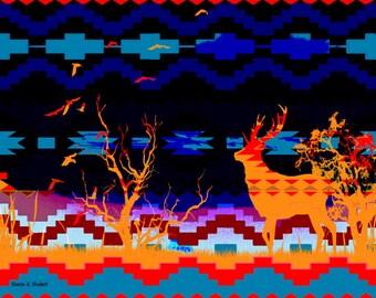 Southwestern Art, Digital Deer Photomontage, Woodland Animal, Home Decor, Wall Hanging, Primary Colors Artwork, Giclee Print, 11 x 14