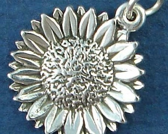 Sterling Silver Sunflower Charm - 24mm