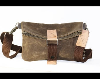 Mini Bag - clutch - pouch - waxed canvas and natural leather - made in USA