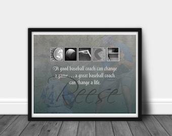 BASEBALL COACH APPRECIATION-Baseball Coach Gifts--Letter Artwork-Photo Letter Art-Alphabet Photography-Alphabet Art