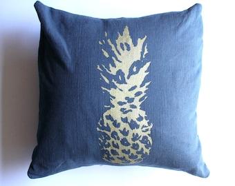 Pineapple Decor / Blue Pineapple Pillow Navy Blue and Gold Pineapple Nautical Decor Hawaii Pillow Beach House Decor / Beach House / Hammock