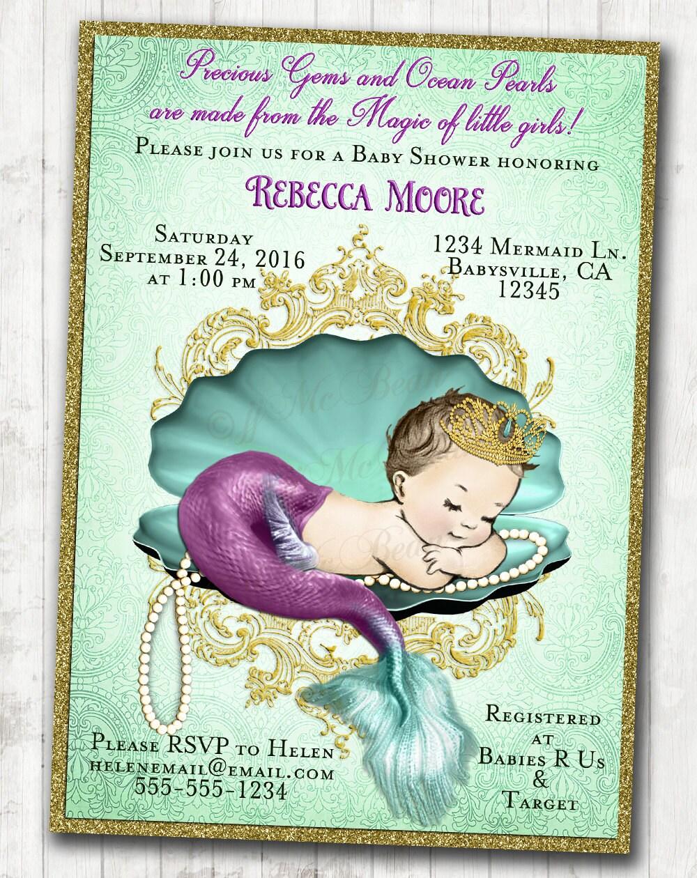 Baby Little Mermaid Invitations