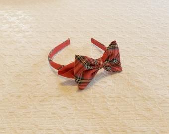 Red Tartan Plaid Holiday Ribbon Bow Headband