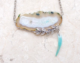 Mint Geode Agate Necklace Soldered Stone Silver plated leaves