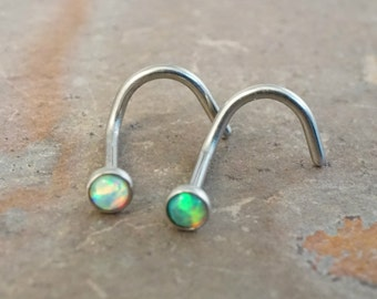 Opal Nose Rings Nose Piercings White Green Fire Opal Corkscrew Nose Stud