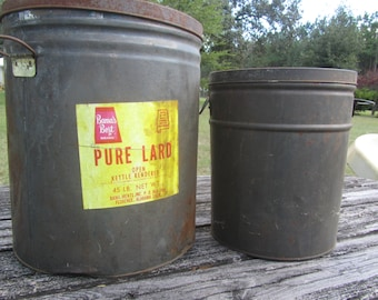 Metal Tin Can, lard can, Metal canister, large can,farmhouse decor, vintage kitchen, storage container, tin can,