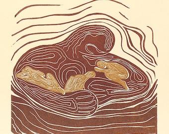 Original Woodcut Print Lullaby Mother Earth Hugging Sleeping Golden Children Woodblock Art