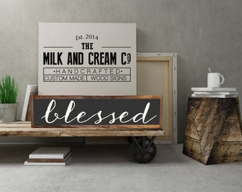 Blessed wood sign rustic distressed, Framed Sign, Wall Decor, Rustic Wall Art Framed Thanksgving sign Fall Decor, Blessed Sign, Mantel #22