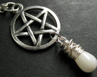 Pagan Necklace. White Coral Necklace. Teardrop Necklace. Silver Pentagram Necklace. Handmade Jewelry.