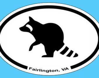 Fairlington, VA Bumper Magnet - Raccoon Magmet - Arlington VA Oval Car Magnet